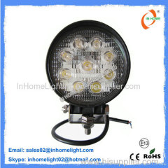 Aluminum 27W IP67 Waterproof LED Work Lamps / Round Led Work Lights 10V-30V