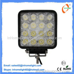 IP67 4350 LM 48 Watt Square LED Work Light For Trucks / Vessels / Bus / Trains