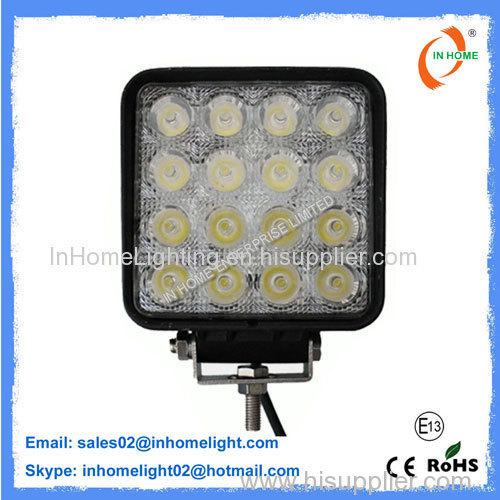 IP67 4350 LM 48 Watt Square LED Work Light For Trucks / Vessels / Bus / Trains