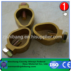 Copper ground rod and wire connecting clamp