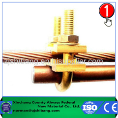 Copper ground rod and cable connecting clamp