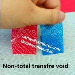 Custom very strong adhesive non transfer void open adhesive label tamper evident no residue