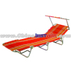 Orange Stripe Folding Sun Bed Lounger With sun visor
