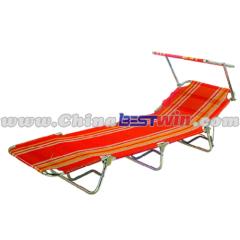 Orange Striped Go Flat Lounger With sun visor