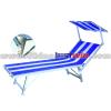 Blue Stripe Folding Sun Bed Lounger With sun visor