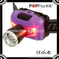 2015 Newest Design POPPAS T16D Powerful XPE LED+ 2Red SMD Telescopic led rechargeable headlamp