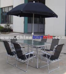 Backyard Umbrella Table and Chair Patio Deck Outdoor Garden Deck Furniture Set