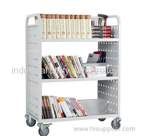 Three layers double-sided W-type mobile book cart