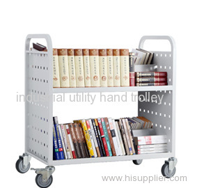 Library W type book cart with 2 shelves