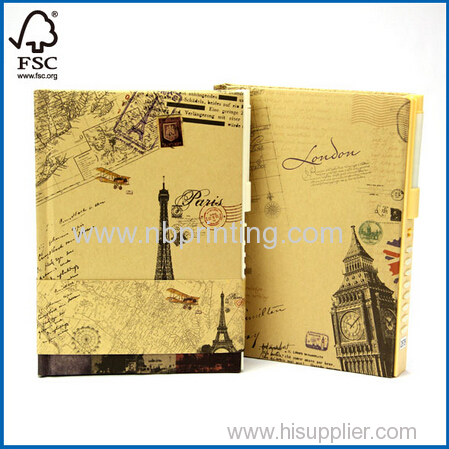 2015 Newly Designed Hard Cover Colored Pages Diary with Code Lock