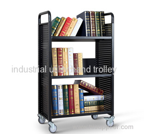 Single-Sided W-type library book cart with 3 shelves