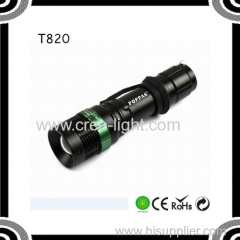 POPPAS T820 2015 Hot Sale XPE Led Torch Zoom Flashlight Aluminum Waterproof and Explosionproof Led Torch Light