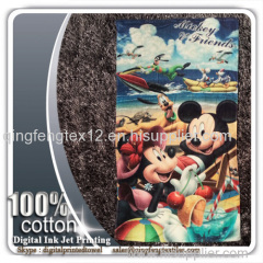 2015 hot sales 100% cotton reactive printing beach towel