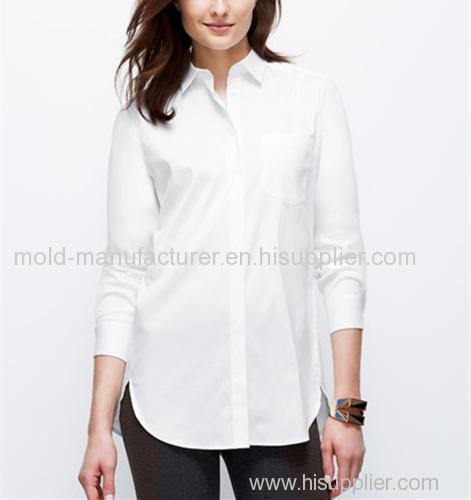 Cotton nylon mix simple white fashion casual women shirt OEM China dress manufacturers