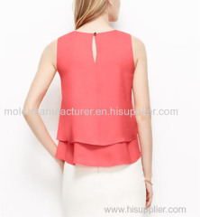 100% Polyester O-neck orange ruffles short type chiffon shirt ODM China dress manufacturer new design