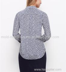 100% Silk Full long style notched fashion chiffon printed shirt OEM China dress manufacturers factory directly