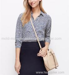 100% Silk Full cuasual fashion chiffon blouse printed shirt OEM China dress manufacturers