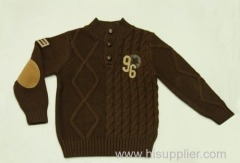 Boys' Autumnal Brown Placket Turtleneck Jumpers