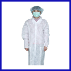 Disposalbe lab coat for hospital use with collar white color