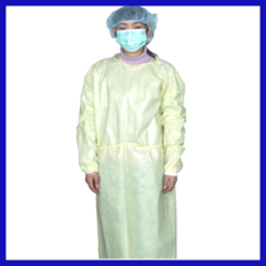 Disposable yellow isolation gown non-woven