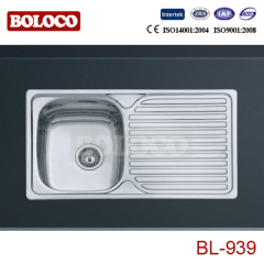 Europe BA finish Single bowl Single drainer One piece rectangle/Square Blue Film Kitchen Sink 304# 201# BL939