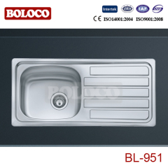 Europe Middle BA Finish Single bowl Single drainer One piece rectangle/Square Kitchen Sink 304# 201# BL951L/R