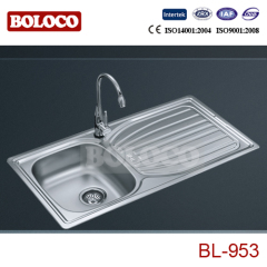 Europe Middle BA Finish Single bowl Single drainer One piece rectangle/Square Kitchen Sink 304# BL953