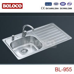 Europe Middle BA Finish Single bowl Single drainer One piece rectangle/Square Kitchen Sink 304# BL955