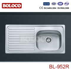 Europe Middle BA Finish Single bowl Single drainer One piece rectangle/Square Kitchen Sink 304# BL952R