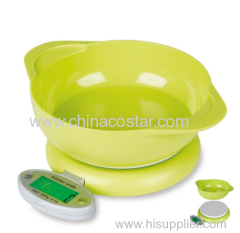 Digital kitchen scale with green bowl