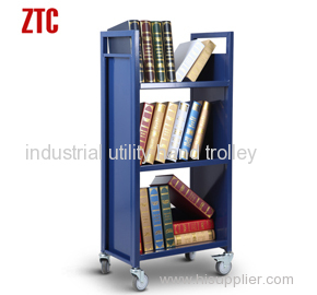 Library moving book cart with 3 slant shelves