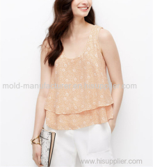 100% Polyester short simple floral printed O neck chiffon blouse China dress factory best price