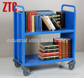 Steel library book cart with 2 flat shelves