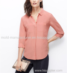 100% Silk Pink solid fashion long type button tab box blouse China dress low price new style in 2015
