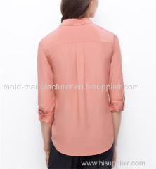 2015100% Silk fashion long type button yoke box pleat causal blouse China dress low price