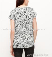 New supply 100% Polyeste short type V neck cap chiffon blouse China dress factory