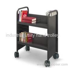 Library double-sided sloped-shelf book cart