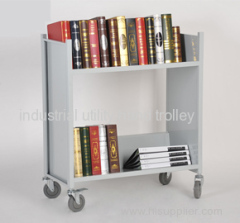 Library double-shelf book cart with wheels