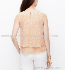New supply 100% Polyeste printed V neck hollow out chiffon blouse China dress factory directly cheap price