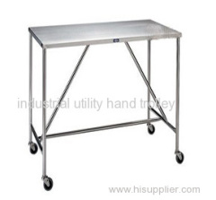 Laboratory stainless steel work table on wheels