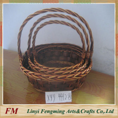 Brown willow flower basket with long liner