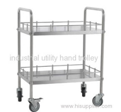 Medical mobile two layers treatment trolley on wheels
