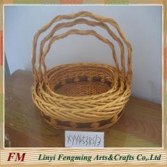 Roud wicker stroage basket flower basket with handle