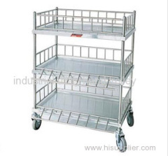 Hospital medical stainless steel instrument trolley with three layers