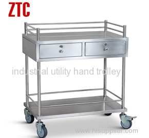 Medical instrument stainless steel cart with drawers