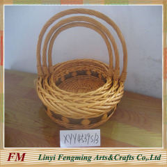 Long Handle Flowers Handicraft Basket