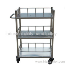 Clinical equipment medical stainless steel trolley with three layers