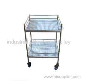 Hospital nurses stainless steel cart & trolley with two tiers