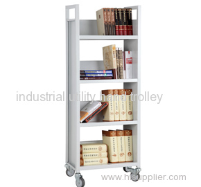 Four layers library mobile portable v-shaped book cart