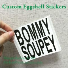 black printing eggshell stickers customized